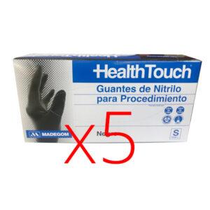 5 Cajas guantes Nitrilo Sin Polvo Negro, Health To...