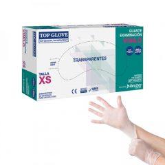 Caja guantes Vinilo con polvo x 100 Uds, Top Glove