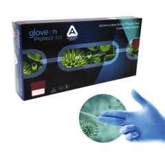 Caja guantes Nitrilo s/polvo antimicrobiano x 100 uds, GLOVEON